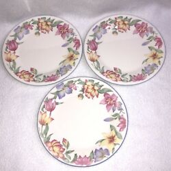 3 Royal Doulton Blooms Bread And Butter Plates Expressions Pink Lavender Flowers