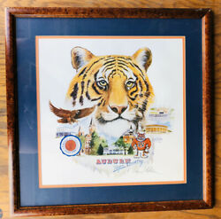 Vintage Auburn War Eagle Tiger Country Wood Framed, Betty Malone Signed Numbered