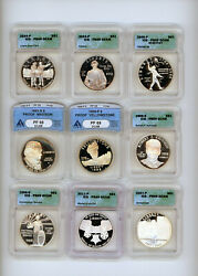 Silver Dollar Commemorative Proof Pf69 Starter Silver Collection Lot 9 Coins