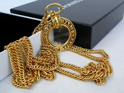 Necklace Vintage Original Long Chain And Large Loupe Signed