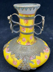 Japanese Asian Yellow Red Porcelain Vase Metal Overlay Rare Serpent Signed Help