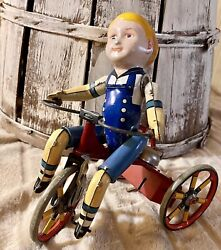 Vintage Marx Wonder Cyclist Tin Wind Up Toy Boy On Tricycle See Video
