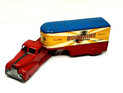 Marx Wind-up Sunshine Fruit Growers Truck And Trailer, Vintage 1940's