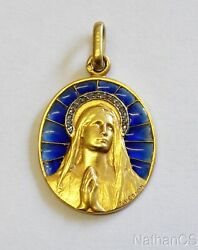 19th Cent. Solid 18k Gold And Diamonds Plique-à-jour Virgin Mary Medal By Vernont