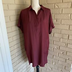 New Sperry Top Knit Pop Over Smock Shirt Dress Women's Size Small Nwt Maroon