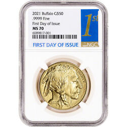 2021 American Gold Buffalo 1 Oz 50 - Ngc Ms70 First Day Of Issue 1st Label