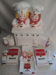1998 Campbell Soup Musical Cookie Jar Kid Chefs With Salt Pepper Shaker And More