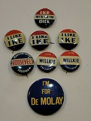 8 Lot Buttons Pin Ike Willkie Fdr Roosevelt De Molay Dick Nixon Campaign Us U102