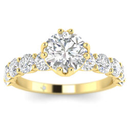 2.1ct D-si1 Diamond Shared Prong Engagement Ring 18k Yellow Gold Any Size