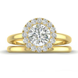 1.35ct D-si1 Diamond Round Engagement Ring 18k Yellow Gold Any Size