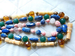 Chinese Necklace Collection Yellow Jade Lapis Shell Amethyst Peking Glass