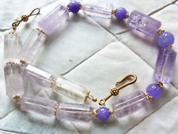 Natural Large Amethyst Beads Necklace With Lavender Jade Shou Beads