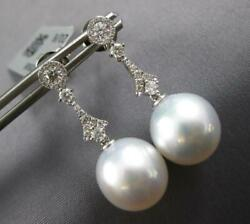 .44ct Diamond And Aaa South Sea Pearl 18kt White Gold Chandelier Hanging Earrings
