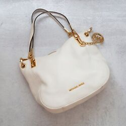 White Leather Michael Kors Hobo Bag with Gold Accent excellent pre owened cndtn. $120.00