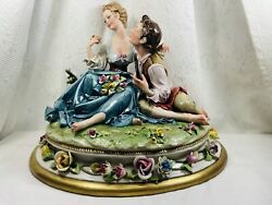 Capodimonte B. Merli Porcelain King's Figurine Two Lovers/kiss Made In Italy