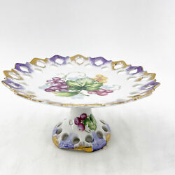 Vintage Lefton China Hand Painted Gold Purple Reticulated Pedestal Plate Dish 7