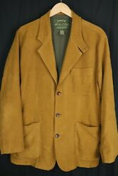 Orvis Mens Sz Large Brown Fly Fishing Blazer Jacket Lyocell 3 Button
