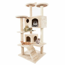 52quot; Cat Trees and Towers Solid Cute Sisal Rope Plush Cat Climb Cat Houses Beige