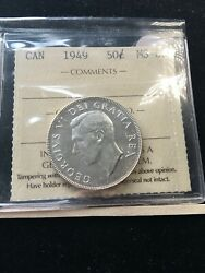 1949 Iccs Graded Canadian 50 Cent Ms-62