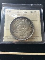 1951 Iccs Graded Canadian Silver Dollar Ms-65
