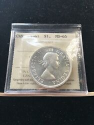 1961 Iccs Graded Canadian Silver Dollar Ms-65