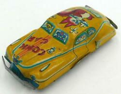 1950's Vintage Small Size Japanese Tin Comic Car- Flute Playing Squirrel On Roof