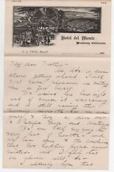 1900 Graphic Advertising Letterhead From The Hotel Del Monte Monterey Ca
