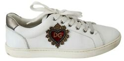 Dolce And Gabbana Shoes Sneakers White Leather Beaded Red Heart Mens Eu41 / Us8