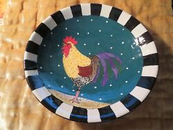 Janis Childs Key West Pottery Bowl Rooster Hand Painted Signed One Of A Kind