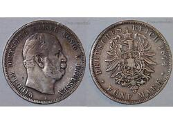 Germany Prussia 5 Mark Coin 1874 A Silver German Empire Kaiser Wilhelm Reich Ww1