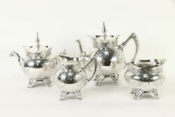 Victorian Antique Silverplate Coffee And Tea Set Warriors Meriden 36424