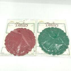 Vintage Royal Lace Paper Lace Doilies 36 Doilies Red And Green 6 Round