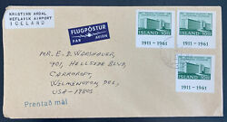 1975 Iceland Airmail Cover To Wilmington De Usa University Imperf Stamp