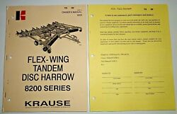 Krause 8200 Series Tandem Disc Harrow Owners Operators Parts Manual And Supplement