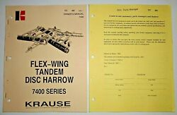 Krause 7400 Series Tandem Disc Harrow Owners Operators Parts Manual And Supplement