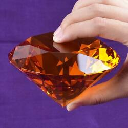 Ship From Usa 100mm Amber Crystal Diamond Paperweight Home Wedding Decoration Cr