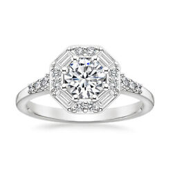 Brilliant 0.95 Ct Real Diamond Bridal Wedding Ring Solid 14k White Gold Size 7 8