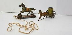 Vintage 2 Embossed Tin Horses Platform Pull Toy Very Decorative Attractive