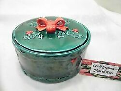 Kitchen Utensils Tableware Cookware Pottery Vintage Lefton Green Hollyberry