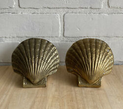 Vintage Solid Brass Scallop Clam Shell Seashell Bookends Heavy, Nautical Decor