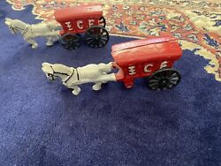 Old Cast Iron Horse Drawn Ice Wagon Toy