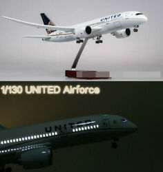 1/130 United Airlines Boeing B787 Replica Airplane Plane Model Led Voice Lights