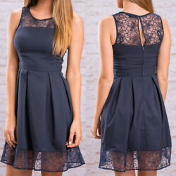 Blue Summer Women Sleeveless Lace Evening Party Cocktail Short Mini Dress US $11.98