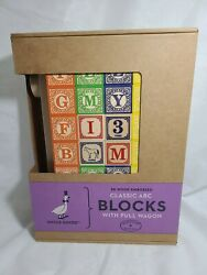 Uncle Goose 28 Wood Embossed Classic Abc Alphabet Blocks With Pull Wagon - New