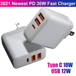 30w 3usb Type-c Wall Fast Charger Pd Power Adapter Plug For Iphone 12 Pro Max 11