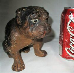Antique Hubley Toy Usa Sitting English Bulldog Cast Iron Art Statue Doorstop