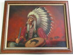Becerra Painting Large Iconic Native American Indian Buffalo Portrait 1970and039s