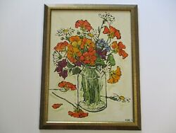 Evans 1970and039s Still Life Painting Modernist Impressionist Poppies Flowers Floral