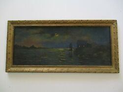 Antique Night Nocturne Oil Painting Mystery Coastal Boats Ships Landscape Early