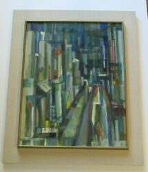 Vintage Urban Oil Painting Large Framed 1960and039s Mid Century Cubist Regionalism